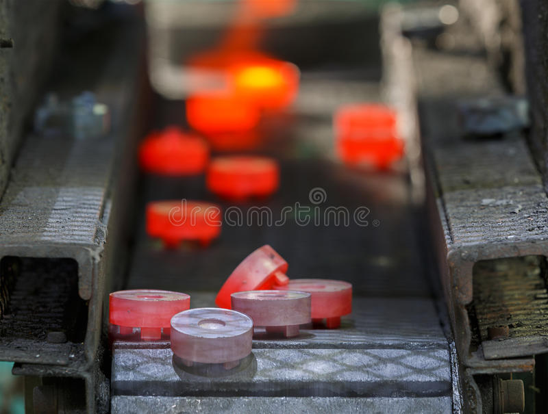 Steel gear hot forging production line. For automotive stock image