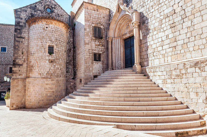 Steep stairs inside the old town of Dubrovnik. Architectural detail stock image