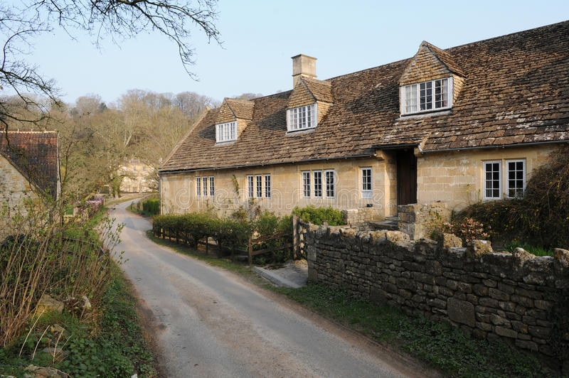 Stone Cottages and a Lane in Rural England royalty free stock photo