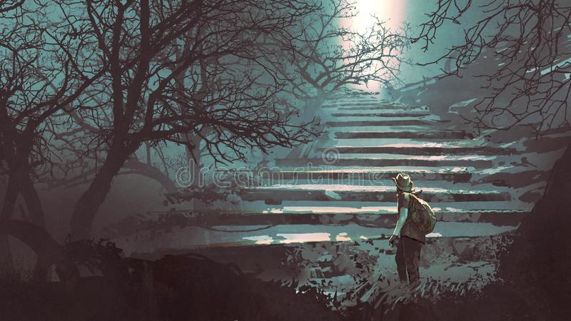 Stone stairs in the mysterious forest vector illustration