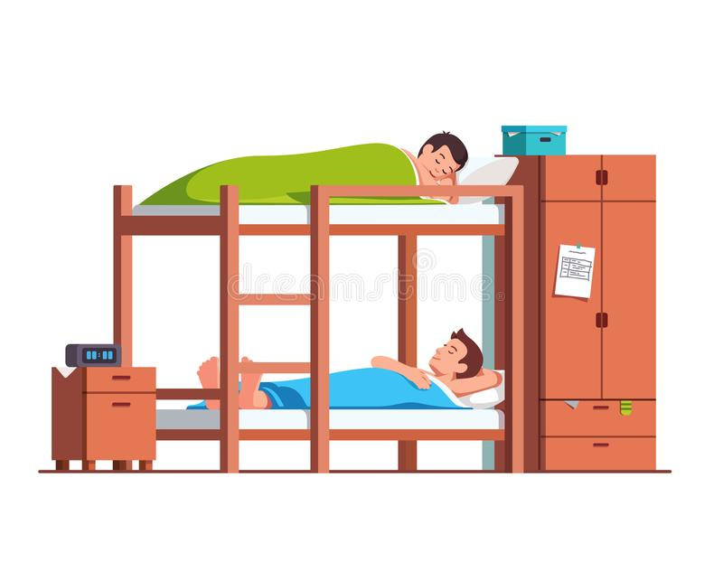Students friends sleeping on bunk bed in dorm room vector illustration