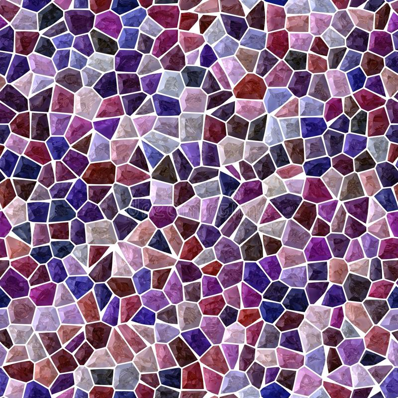 Surface floor marble mosaic seamless background with white grout - dark blue red burgundy brown black purple violet color. Surface floor marble mosaic pattern vector illustration