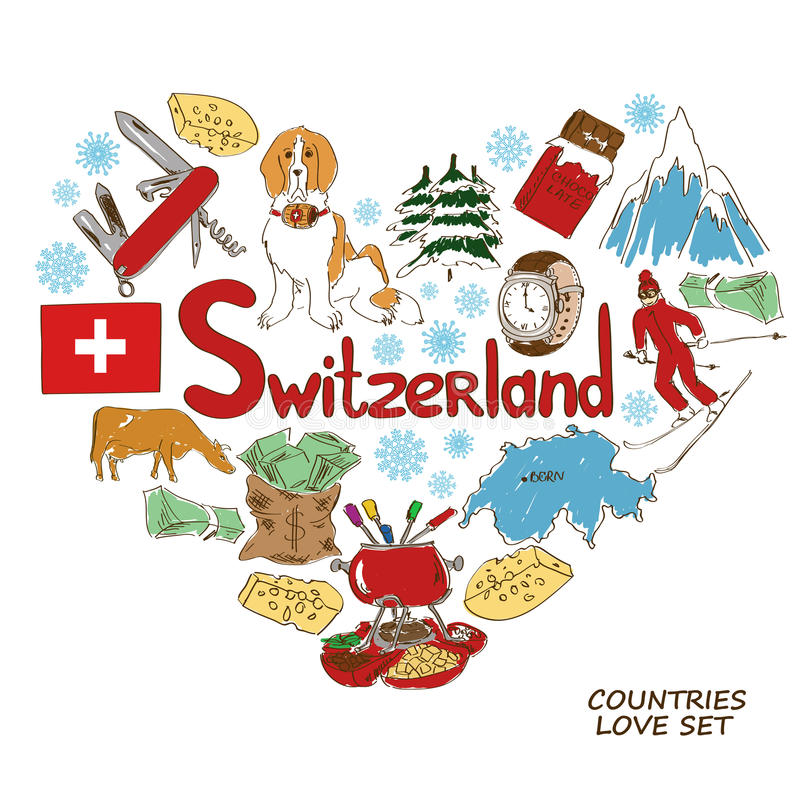 Symbols of Switzerland in heart shape concept stock illustration