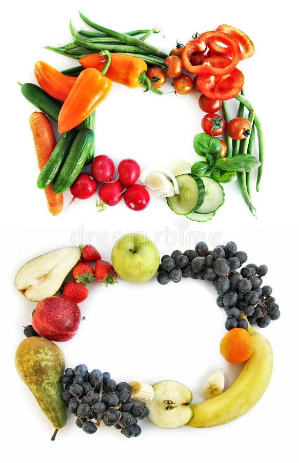 Tasty frames. Two frames form vegetables and fruits stock photos