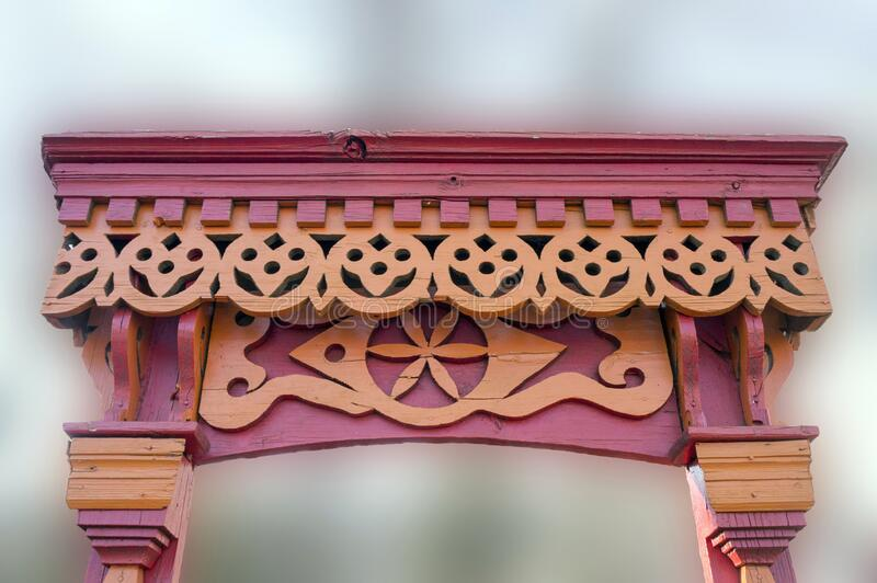 Russia. Penza. Carved platbands for decoration of Windows in Russian houses stock photo