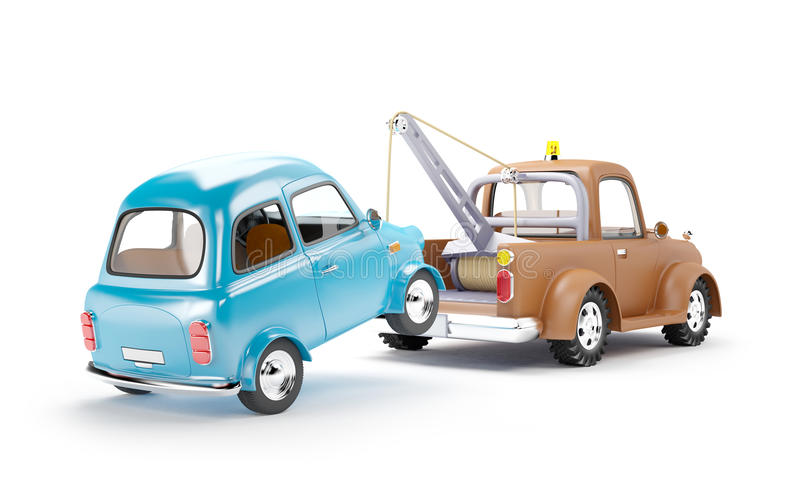 Tow truck and car back view stock illustration