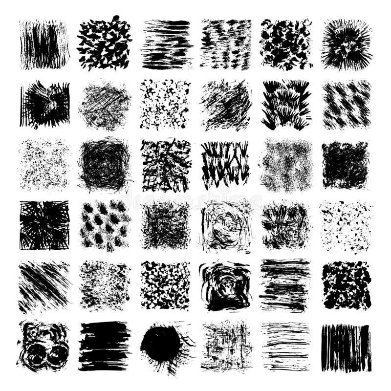 Grungy hand drawn textures, brush strokes. Abstract vector clipart set isolatad on white background. Urban textures, abstract grunge backdrops clipart vector illustration