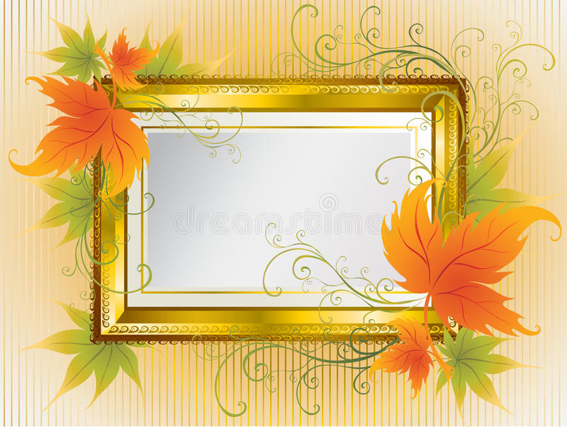 Vector gold frame with Autumn Leafs. Thanksgiving vector illustration