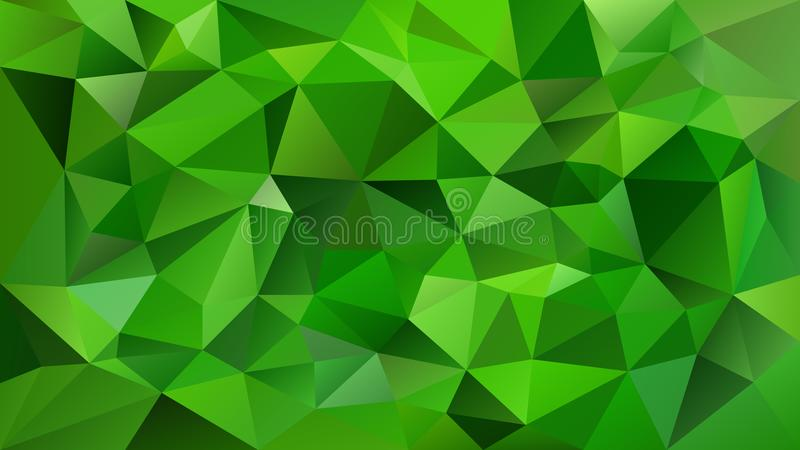 Vector irregular polygonal square background - triangle low poly pattern - vibrant emerald green color. Vector abstract irregular polygonal square background royalty free illustration