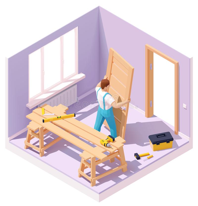 Vector isometric worker at door installation royalty free illustration