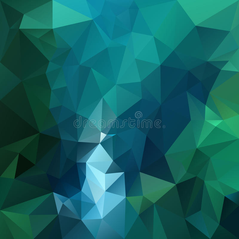 Vector polygon background pattern - triangular geometric design in dark emerald color - green and blue. Vector polygon background with irregular tessellation royalty free illustration