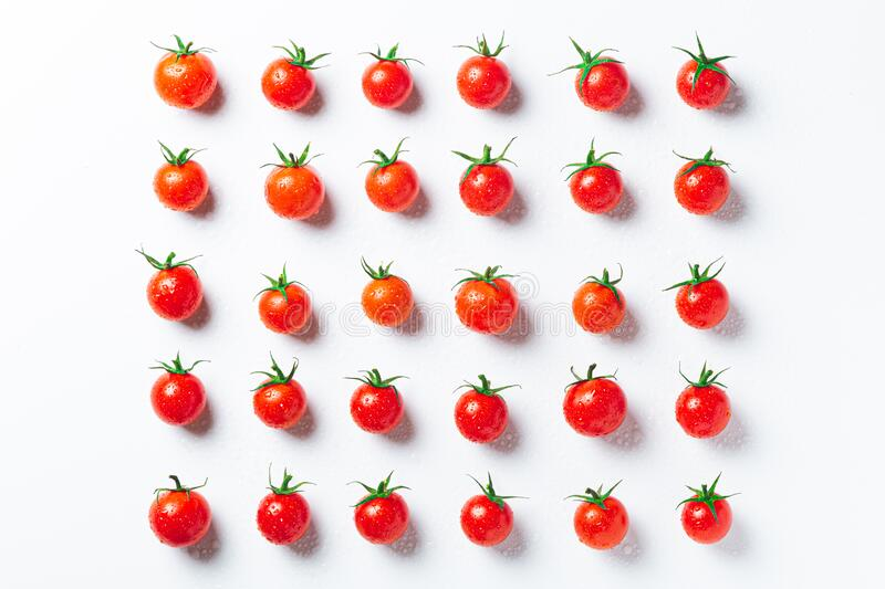 Very fresch tomatoes in symmetrical composition on white background, top view stock photography