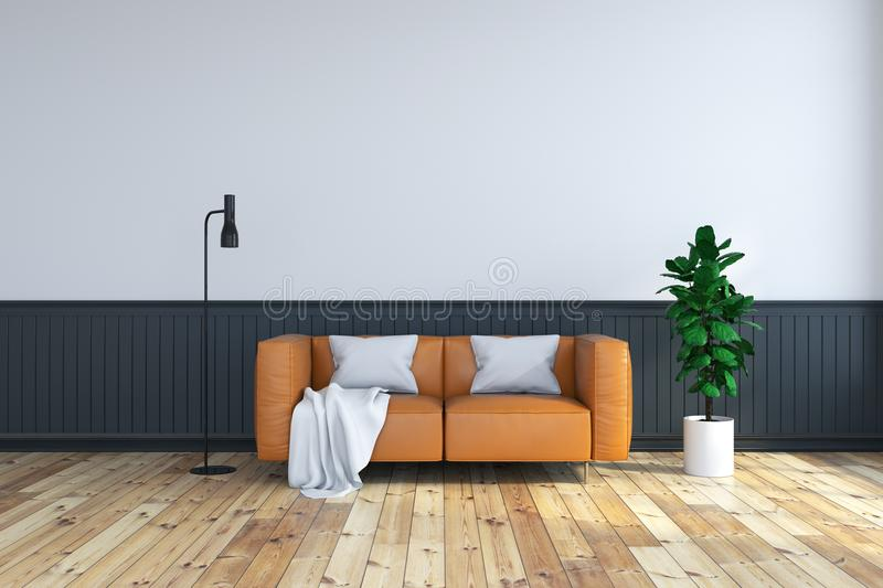 Vintage interior room , brown leather sofa on wood flooring and dark frame wall. /3d render stock illustration