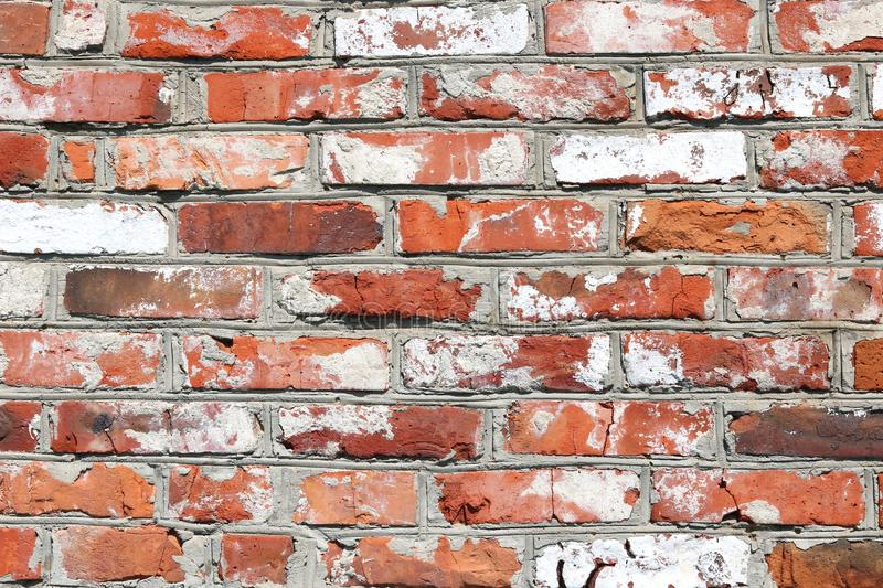 Wall of bright old red brick as beautiful loft-style background royalty free stock images