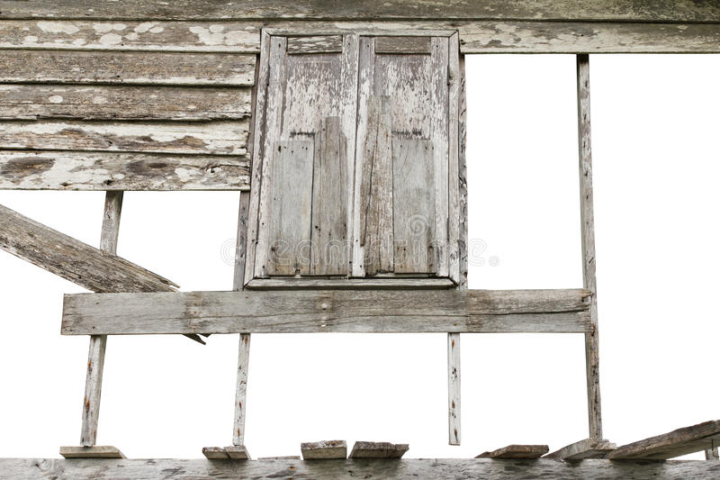 Walls, old wooden windows. Isolates gap wooden walls and windows of old houses decayed royalty free stock photography
