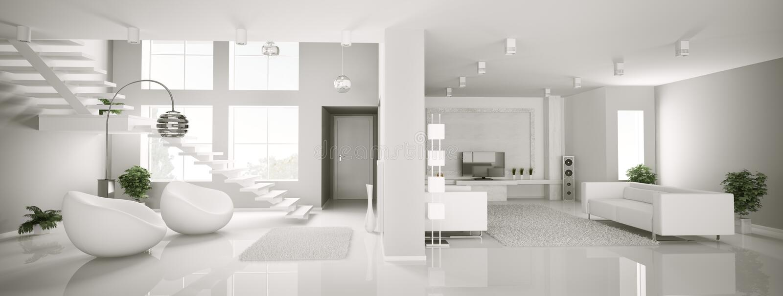 White apartment interior panorama 3d stock illustration