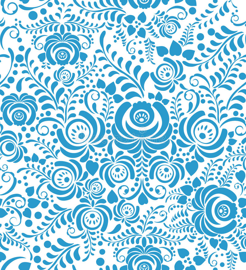 White and blue seamless pattern in Russian style royalty free illustration