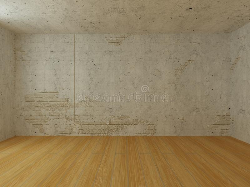 White brick wall with stuco, installation and wooden floor royalty free illustration
