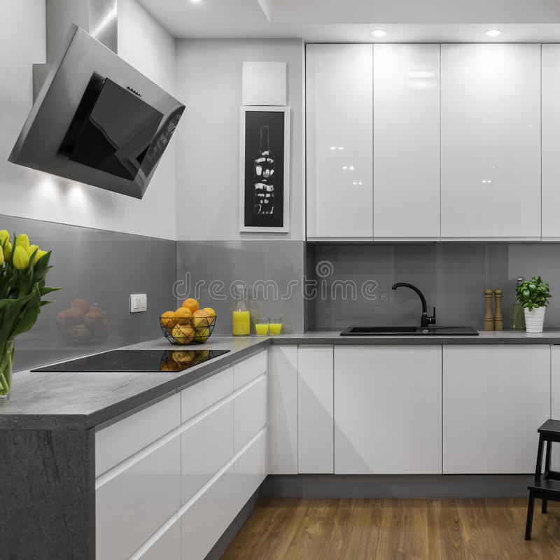 White and grey kitchen royalty free stock photos