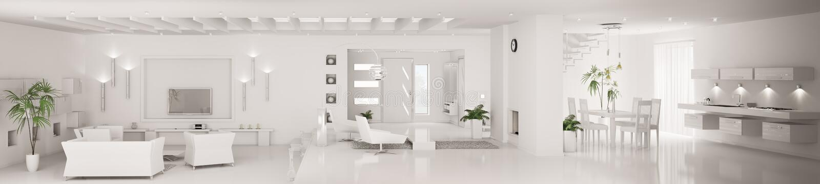 White modern interior panorama 3d render royalty free illustration