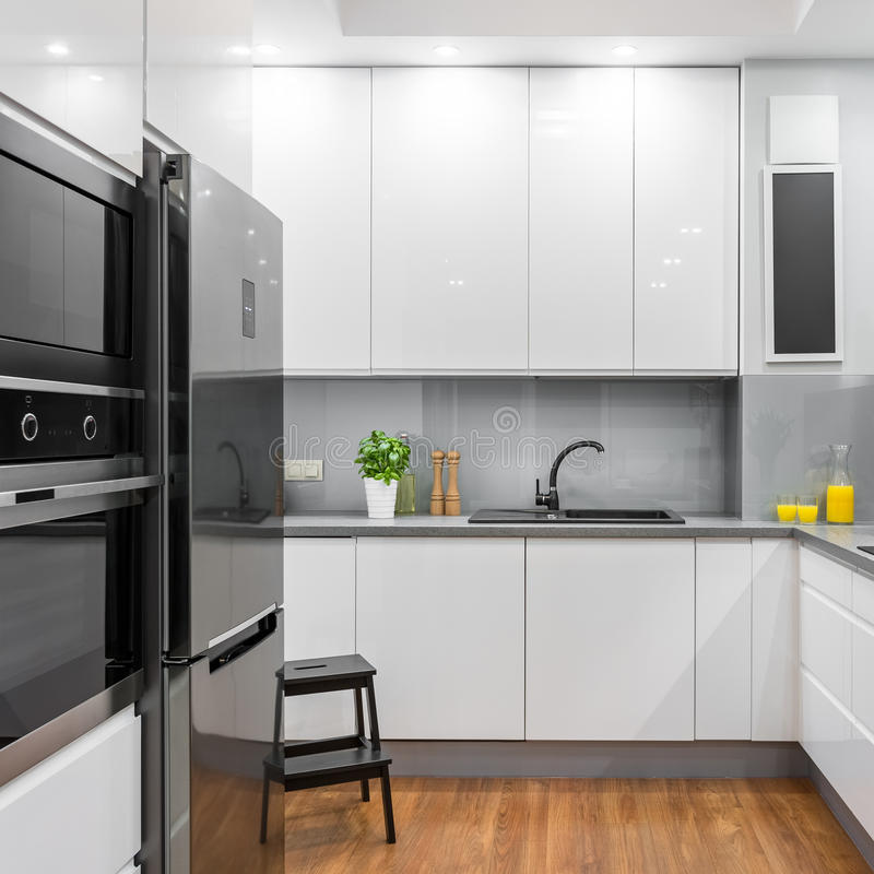White modern kitchen royalty free stock images