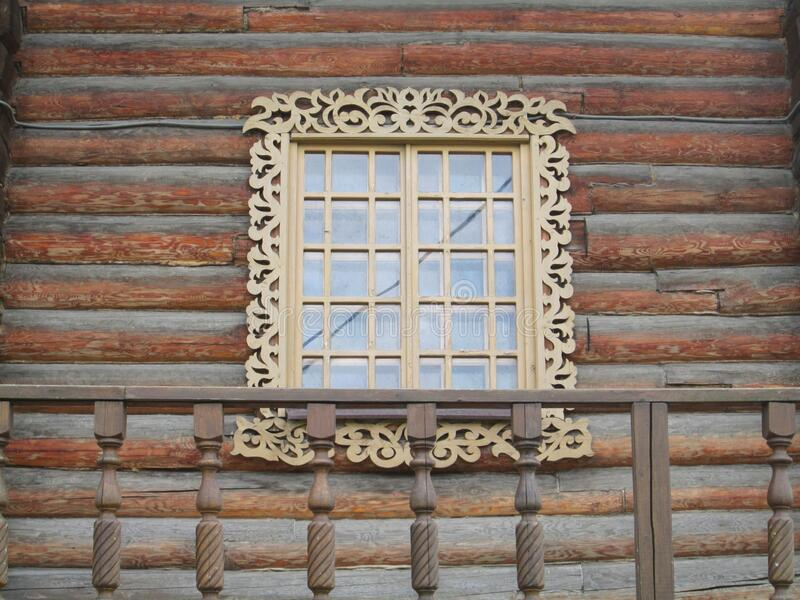 Window with carved frame. stock photography