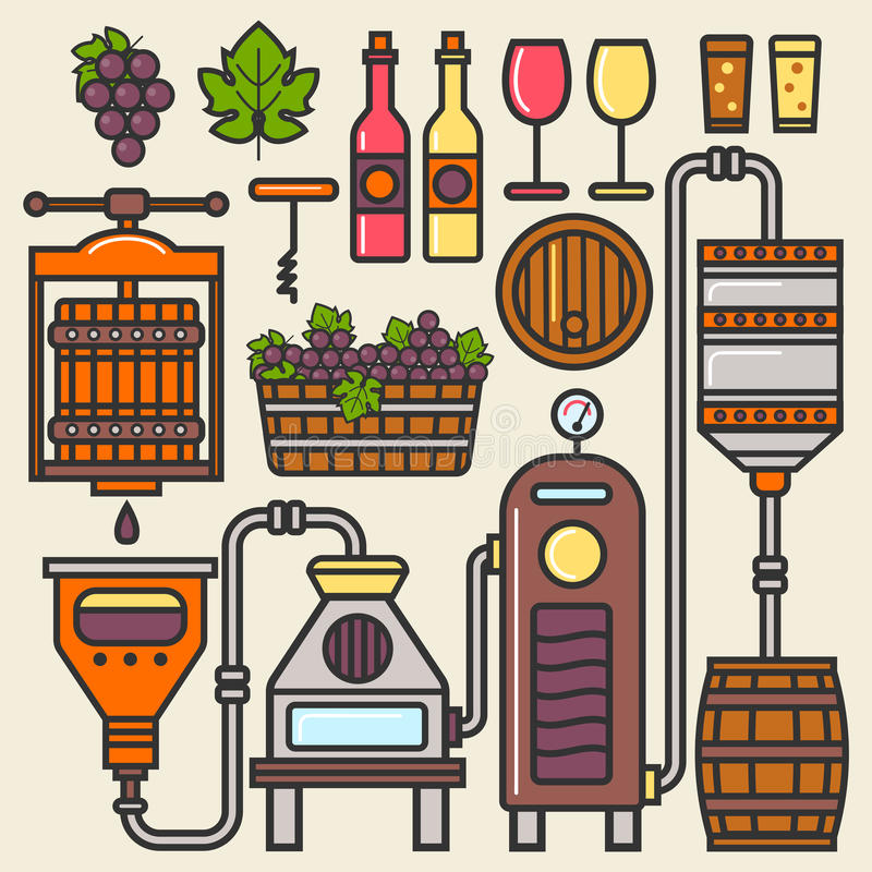 Wine production line or winery winemaking vector installation vector illustration