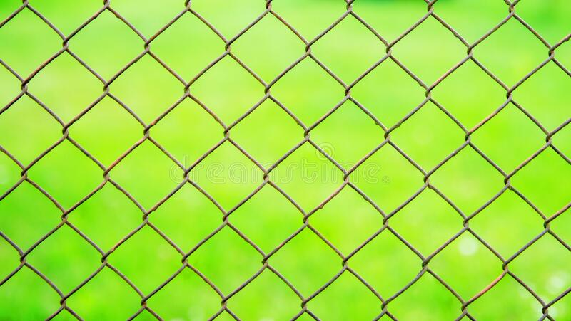 A wire mesh cage against a green meadow. Texture pattern surface background from wire mesh netting. Out of focus, defocus royalty free stock photo