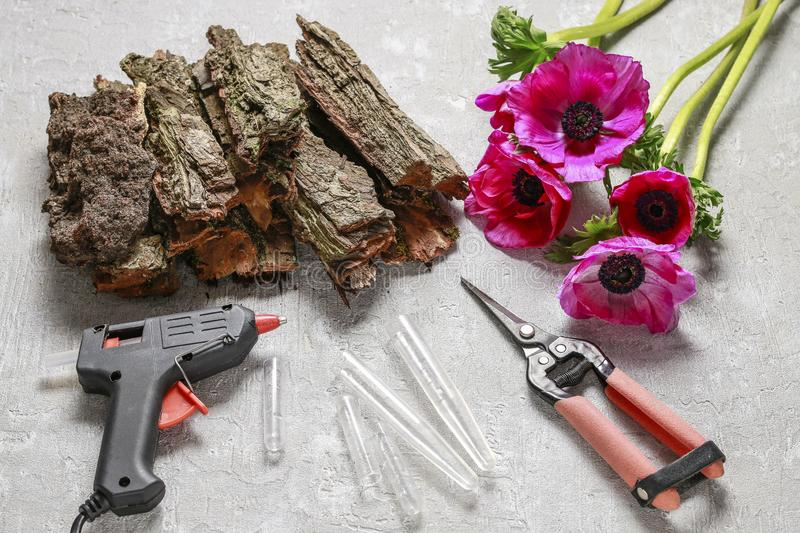 Woman making spring table decoration with bark and anemone flowers. Florist at work: woman making spring table decoration with bark and anemone flowers royalty free stock images