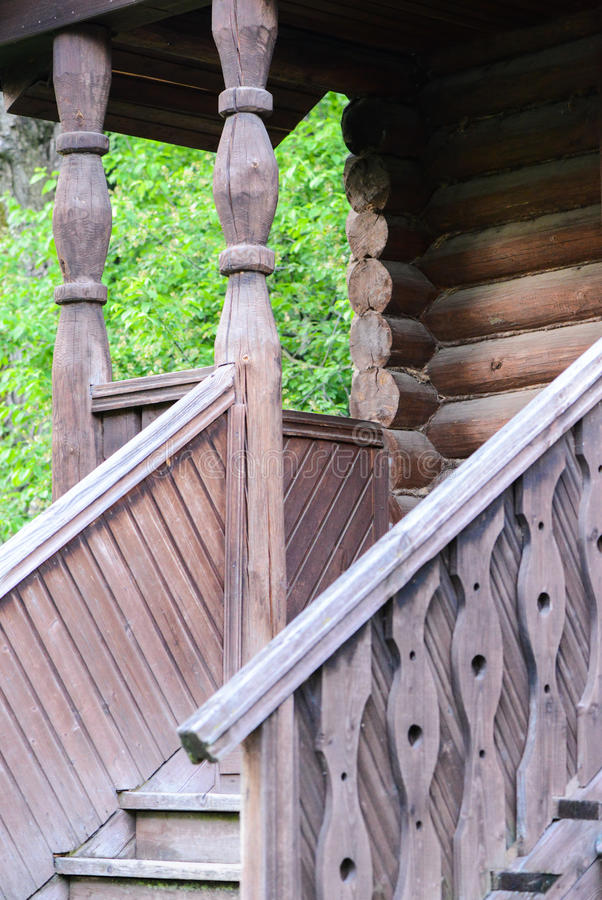Wooden porch of the old Russian building stock photography