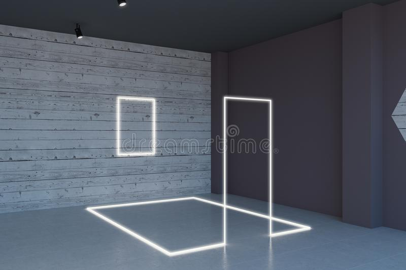 Wooden room with installation stock illustration
