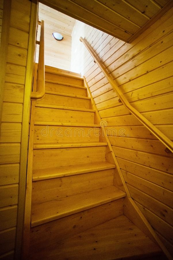 wooden stair to second floor in clean house stock image
