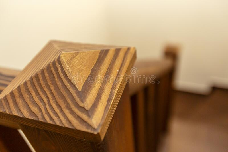 Wooden staircase in the cottage from the first to the second floor stock photo