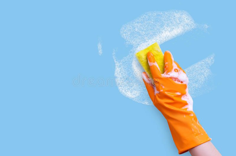 Worker removes and washes. stock photo