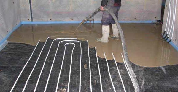 screed for warm water floor