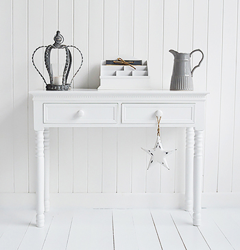 Bring simplicity into your hall and living room interior with the classic New England console table with drawers