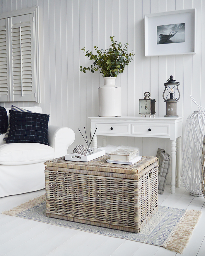 The Seaside grey willow coffee table with storage with New England white console table for white living room from The White Lighthouse. Bathroom, Living Room, Bedroom and Hallway Furniture for beautiful homes in coastal and country home interiors