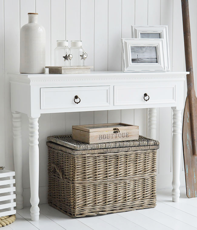 The New England White Hall table. White console table for hallways and living room furniture